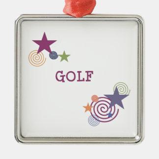 Remous de golf ornement carré argenté
