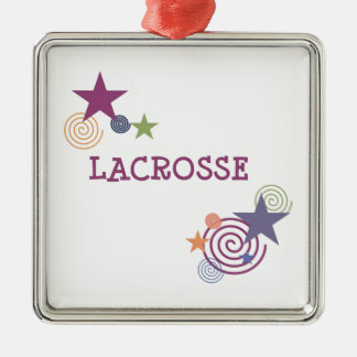 Remous de lacrosse ornement carré argenté