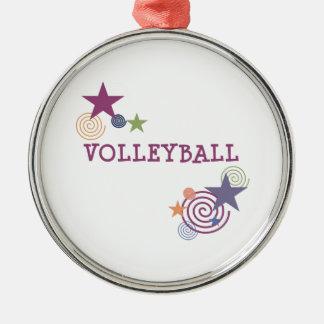 Remous de volleyball ornement rond argenté