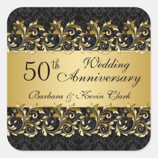 Remous d'or, anniversaire de mariage de damassé sticker carré