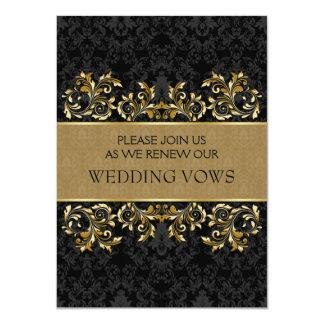 Remous d'or feuillus, renouvellement noir de voeu carton d'invitation  11,43 cm x 15,87 cm