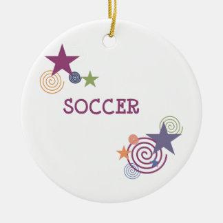 Remous et étoiles du football ornement rond en céramique