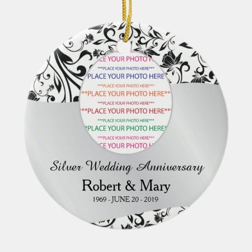 Remous noir et 25ème anniversaire de mariage d'arg décorations pour sapins de noël