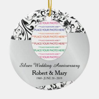 Remous noir et 25ème anniversaire de mariage ornement rond en céramique