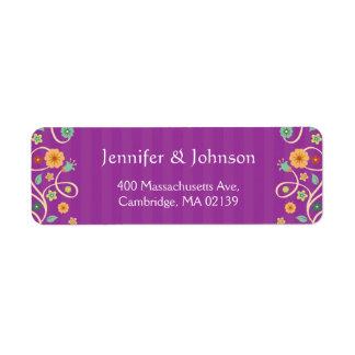 Remous pourpre violet mignon RSVP élégant floral Étiquette D'adresse Retour