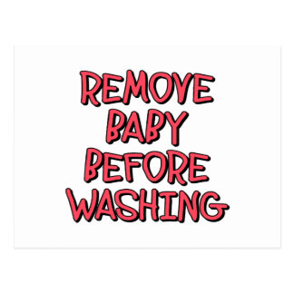 remove baby before washing, funny postcard