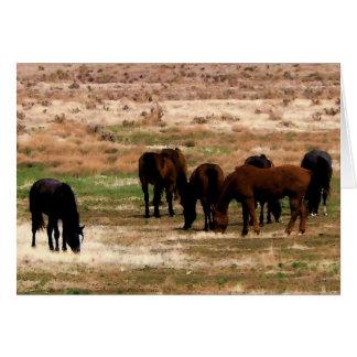 Remuda Herd Grazes - Ranch Cow Horses - Blank Card