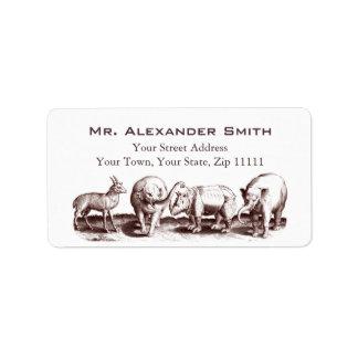 Renaissance Animal Engraving Elephants, Rhino Label