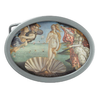 Renaissance Art, The Birth of Venus by Botticelli Oval Belt Buckle