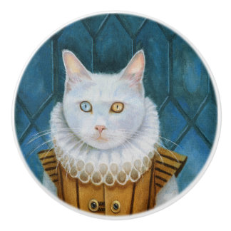 """Renaissance Cat"" Ceramic Knob"