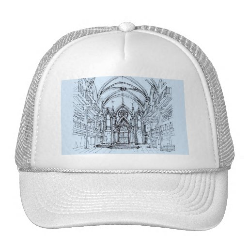 Renaissance gothic Orensanz drawing in blue Mesh Hat