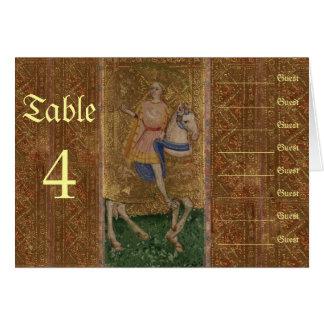 Renaissance Knight and Lady Wedding Seating Chart Card