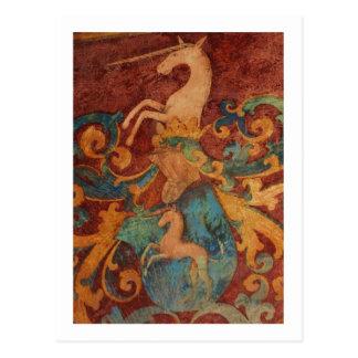 Renaissance Unicorn art Postcard