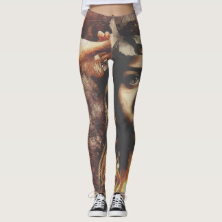 Renaissance Woman With Flowing Hair Leggings