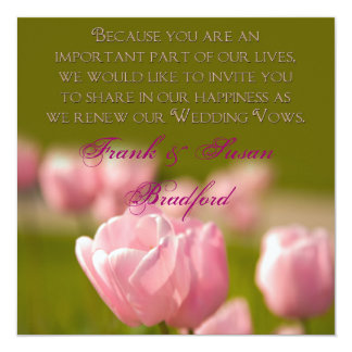 "RENEWING WEDDING VOWS - TULIPS 5.25"" SQUARE INVITATION CARD"