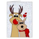 Renne dans la carte de voeux de Noël d'amour