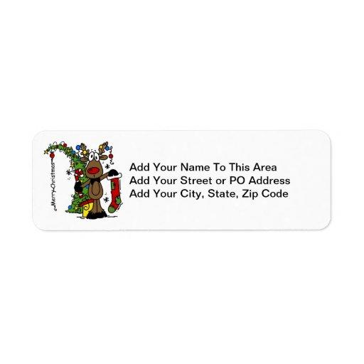 Renne de Joyeux Noël Étiquettes D'adresse Retour