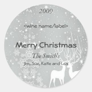 Renne sur les étiquettes argentés de vin de Noël Sticker Rond