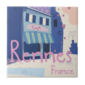 Rennes France vintage cartoon Tile