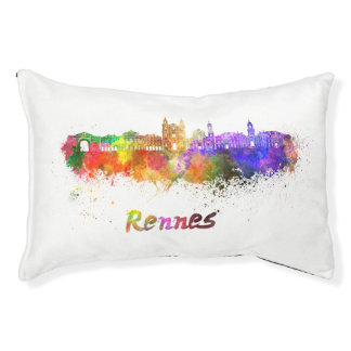 Rennes skyline in watercolor pet bed