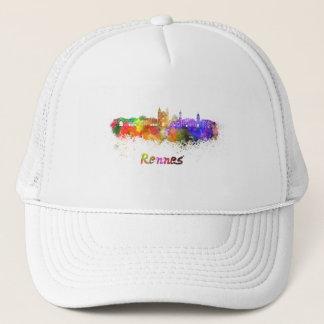 Rennes skyline in watercolor trucker hat