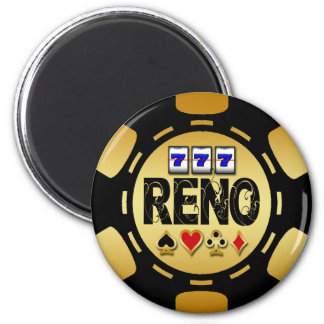 RENO GOLD AND BLACK POKER CHIP MAGNET