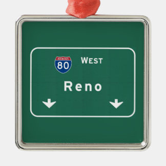 Reno Nevada nv Interstate Highway Freeway : Metal Ornament