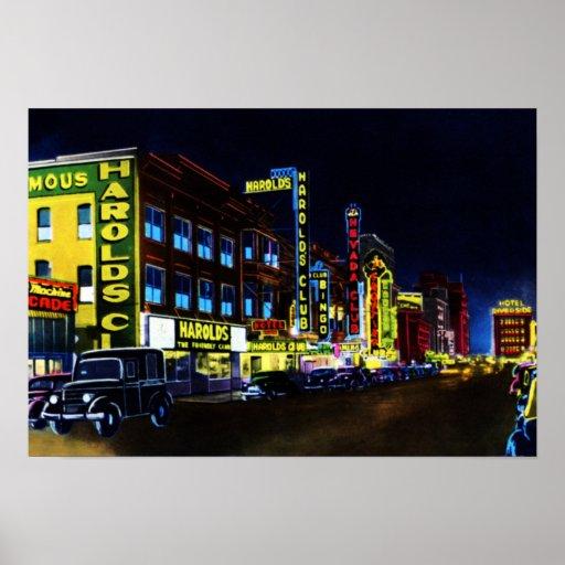 Reno Nevada Virginia Street at Night Poster
