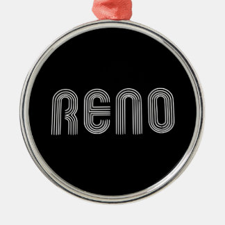 Reno Sign White Metal Ornament