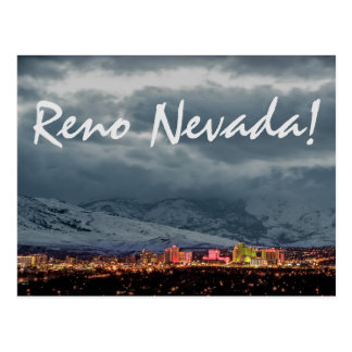 Reno Skyline at Night Postcard