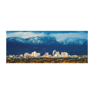 Reno Skyline Fall and Snow Pano on Canvas