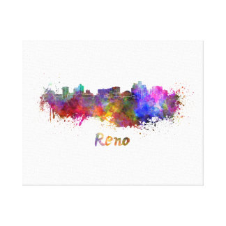 Reno skyline in watercolor canvas print