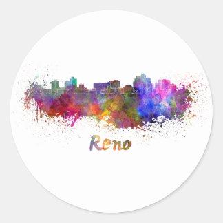 Reno skyline in watercolor round sticker