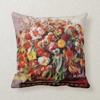 Renoir - Basket of Flowers Throw Pillow
