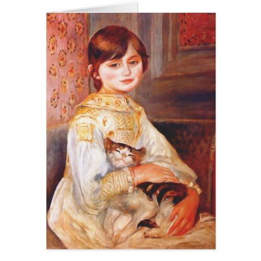 Renoir Girl With Cat Greeting Card