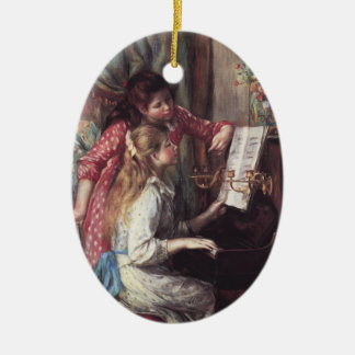 Renoir: Girls at the Piano Ceramic Oval Ornament