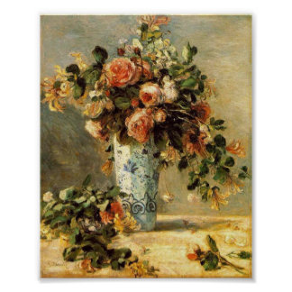 Renoir Roses and Jasmine in a Delft Vase Poster