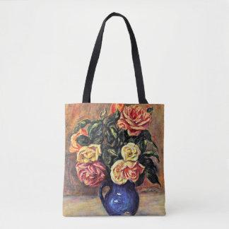 Renoir - Roses in a Blue Vase Tote Bag