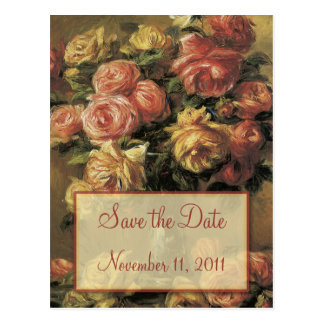 Renoir Roses Wedding Save the Date Postcard