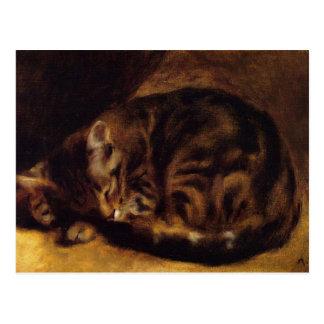 Renoir Sleeping Cat Postcard