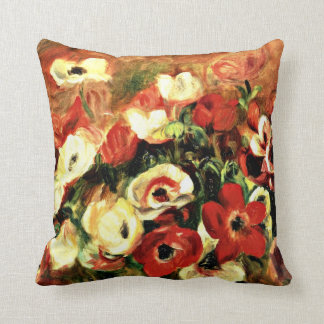 Renoir - Spray of Anemones Throw Pillow