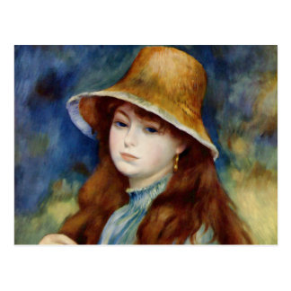 Renoir Young Girl in a Straw Hat Postcard