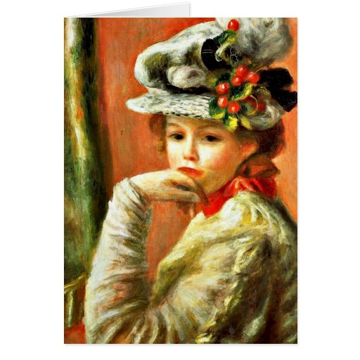 Renoir - Young Girl in a White Hat Greeting Cards