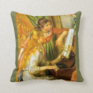 Renoir Young Girls Playing Piano Music Throw Pillow