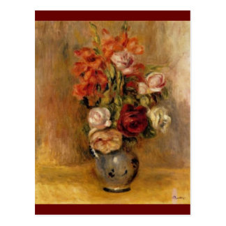 Renoir's A Vase of Gladiolas and Roses Postcard