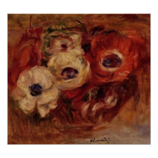 Renoir's Anemones Still Life Poster