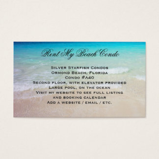 Rent My Beach Condo Custom Photo Advertisement Business Card