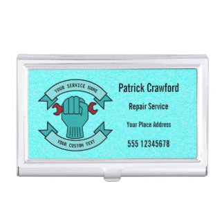 Repair Mechanic Technician Plumber With Red Wrench Business Card Holder