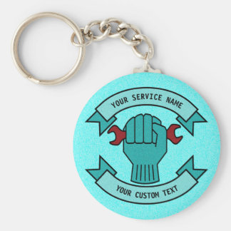 Repair Mechanic Technician Plumber With Red Wrench Keychain