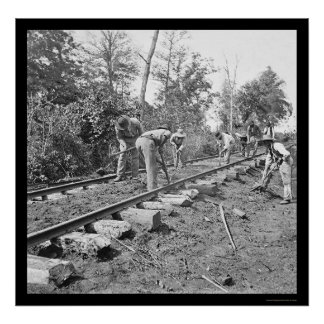 Repairing the Railroad Track in Tennessee 1863 Poster